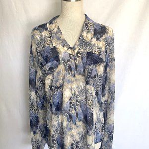 Free People East Rider Semi Sheer Blouse Blue (S)